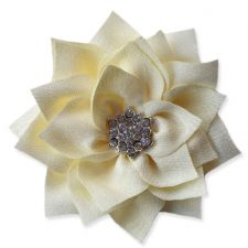 8cm Diamante Dahlia CREAM Fabric Flower Applique